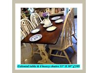Shabby chic , colonial table & 4 chairs ,vintage REDUCED