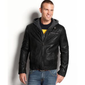 Kenneth Cole Reaction Fauxleather Hooded Bomber Jacket