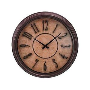 Brown Wood Grain 18 Inch. Wall Clock With Raised Numbers And Dis