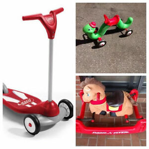 RADIO FLYER TOYS - SCOOTER, PONY OR INCHWORM - $80 FOR ALL