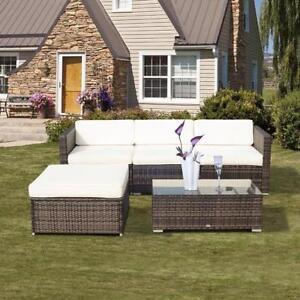5PC Patio Rattan Sofa Set Garden Wicker Sectional Furniture