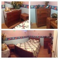6 piece vintage antique walnut bedroom set