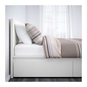 IKEA White Bed Frame Malm with 2 Storage Drawers