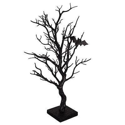 Darice Halloween Tree Decor with Bats: Black Glitter, 9 x 21 inches w - Decorated Halloween Trees