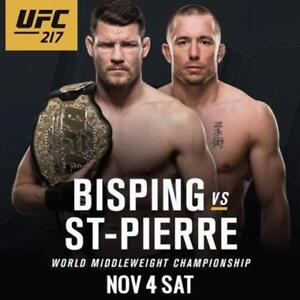 905-441-6657 UFC 217 Tickets SEE LIST GSP vs Bisping New York MSG 2, 3, 4 or 6 in a row 219 row 1 BELOW COST $599 Can$