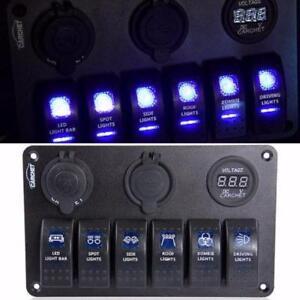 NEW 6 GANG BLUE LED USB CAR ROCKER SWITCH 12V / 24 V BOAT MARINE