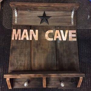 Barn board man cave sign / shelf for basement or garage