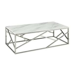 MARBLE TOP COFFEE TABLE WITH CHROME BASE ON SALE (ND 101)