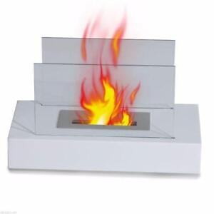 Portable Table Top Fireplace Firebox Bio Ethanol Burner Heater Indoor Outdoor WHITE