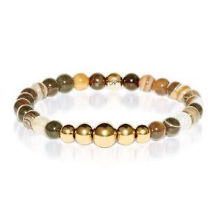 50% OFF All Jewellery - Abundance   Gold Aura Grey Line Agate Bracelet