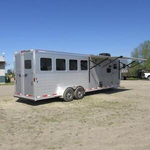 "2018 Exiss Loaded 4 Horse Living Quarter w 10' 6"" Short wall"