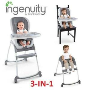 NEW INGENUITY 3IN1 HIGH CHAIR 10400 191010385 SMARTCLEAN TRIO SLATE TODDLER CHILD KID BABY