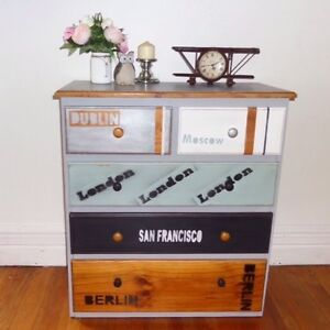 Rustic industrial style tallboy chest of drawers dresser Cremorne Point North Sydney Area Preview