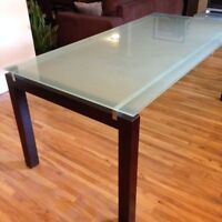 $219 structube glass top dinning table + 4 Ikea chairs