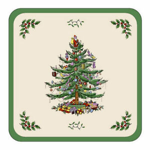 Pimpernel For Spode Christmas Tree Coasters, Cork Base, Qty 6