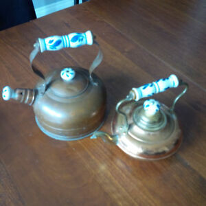 Copper/Brass Tea pot kettles with blue/white handles