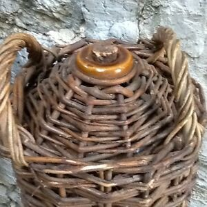 Vintage Wicker Covered Stoneware Jug