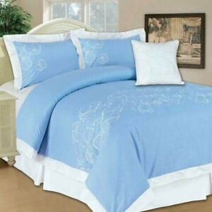 New 5 piece comforter and 7 flute lamp. New