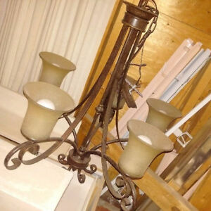Bronze Nested Mini Chandelier light with frosted glass