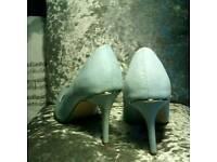 Blue suade heels