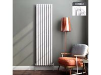 1800x480mm Gloss White Double Oval Tube Vertical Radiator - Ember Premium RRP £254.99 (RC359)