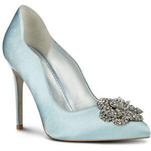 Nine West Elizza Pointy Toe Dress Pump Size 7 - Light Blue Satin