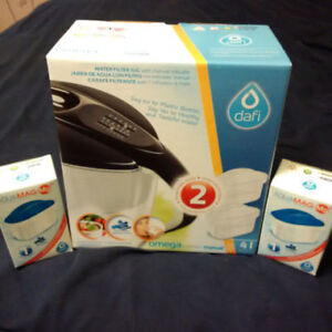 DAFI 2L WATER FILTER JUG WITH 4 NEW FILTERS NEW
