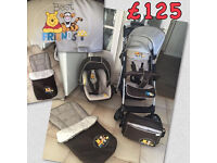 BRAND NEW IN BOX SHOPPER 2 IN 1POOH FRIENDS TRAVEL SYSTEM WITH PRAM CAR SEAT COSYTOES RAINCOVER BAG