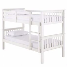 SALE ON Bunk Bed Single 3FT Wooden Frame White Wood With Mattress Split in 2 Single Beds*--