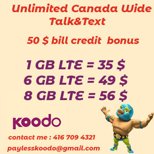 Koodo plans 8 Gb for 56 $ , 6 Gb for 49 $