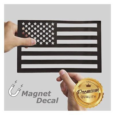WHITE RHINO™ American Flag Car Magnet Decal Cut-Out Black 5.5 x 9 -