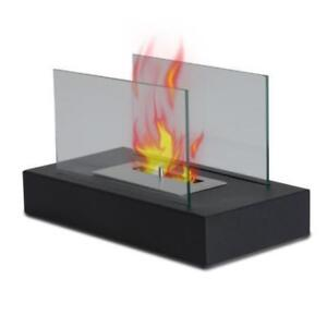 Tabletop Bio Ethanol Free Stand Fireplace / Tempered Glass Fire
