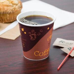 10 oz. Poly Paper Hot Cup with Coffee Design - 1000 / Case