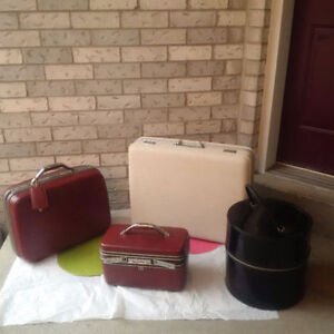 VINTAGE SUITCASE + Make up Case + HAT BOX  *SEE EACH PRICE  -
