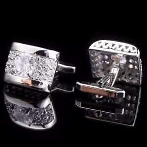 Men's Luxury Silver Rectangular Cufflinks with brilliant CZ