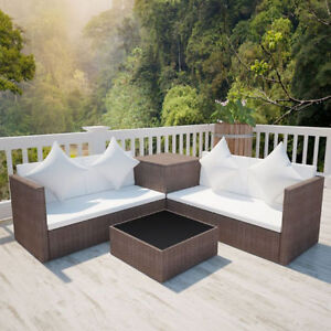 Patio Brown Rattan & Wicker Lounge Set w/ Storage Chest Outdoor