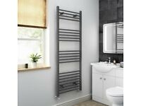 1600x600mm - 20mm Tubes - Anthracite Heated Straight Rail Ladder Towel Radiator