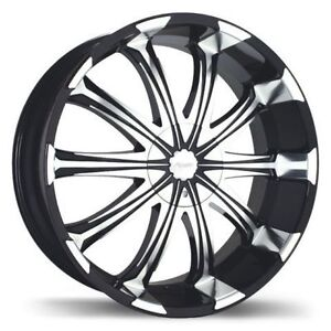 "Fast Avatar 20"" rims black and chrome w/ tires"