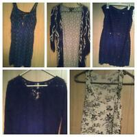 Lg dress and 3 tops and a cardigon