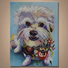 Cute, quirky maltese puppy artwork. 75x100cm Kensington Park Burnside Area Preview