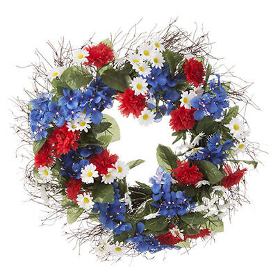 Darice Fourth of July Patriotic Daisy and Hydrangea Wreath: Red/White/Blue, 22""