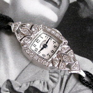Ladies-MINT-1930s-Hamilton-Solid-PLATINUM-22-Diamond-Vintage-Art-Deco-Watch