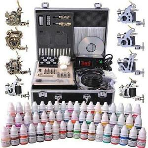 8 Guns Tattoo Machine Kit w/ LCD Power Supply 54 Color Inks & Case - FREE SHIPPING