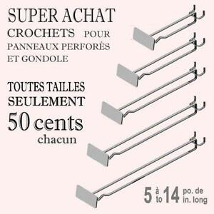 SUPER ACHAT ~ CROCHETS DE PANNEAUX PERFORES AVEC PORTE-ETIQUETTE / HOOKS WITH FRONT LABEL HOLDER FOR PEGBOARD OR GONDOLA