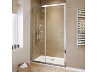 BRAND NEW 1000mm Walk in Sliding Shower Enclosure Glass Screen Door Bathroom Panel Silver