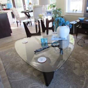 Beautiful Hardwood  beveled  glass coffee table and matching end