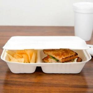 Biodegradable,Compostable  2 Compartment Takeout Container 200/c *RESTAURANT EQUIPMENT PARTS SMALLWARES HOODS AND MORE*