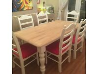 Truly Stunning Shabby Chic 6ft x 3ft Table & Chair Set