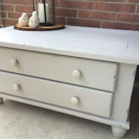 Stunning Refinished Annie Sloan Antique Chest / Coffee Table!