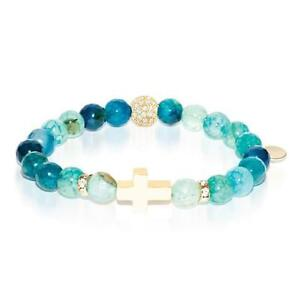 50% OFF All Jewellery - St. Brigid of Ireland | Gold Cross | Green Dragon Grain Agate Bracelet